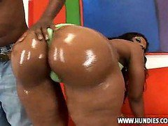 Big Butt Ebony Girl Shakes Her Ass, Then Sucks And Get Fucked.