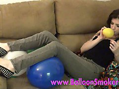 Tattoo teen blows up balloons