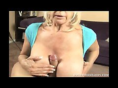 Blonde Granny With Huge Tits Handjob
