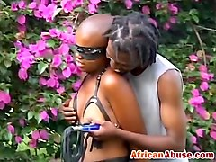 Hot African babe ###d outdoor