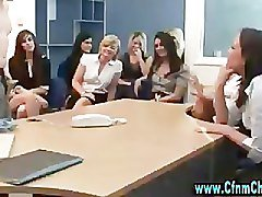 Cfnm office slags humiliate bossman