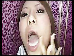 Lovely Yumi Kimishima plays with sperm in her mouth
