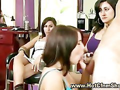 Real amateur clothed babes give guy a blowjob in groupsex