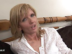 Horny British housewife and her dildo