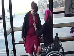 Wheelchair Leah Caprice and her lesbian lover flashing