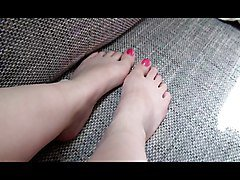 Funnyteengirl shows her feet with white socks