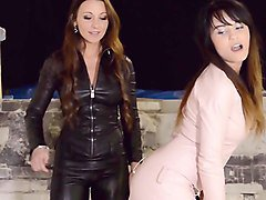 julie skyhigh &aida female domination leather catsuit bdsm