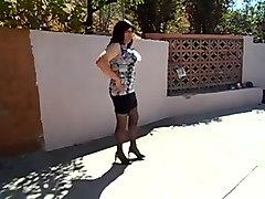 Transgender colorful design top tight black skirt video