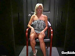 payton hall hot cougar in a gloryhole booth giving blowjobs to young guys and old men