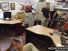 straight dude takes two horny dick in the shop and encounters gay bareback