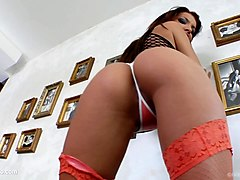 Mercedes gets herself off by masturbating with fingers and dildo at Give Me Pink