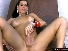 black hair tranny supermodel spanks whacking ass and strokes
